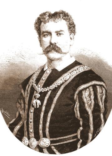 Andrés Antón, en su papel de Rey Fernando, de la ópera La Favorita, en 1885