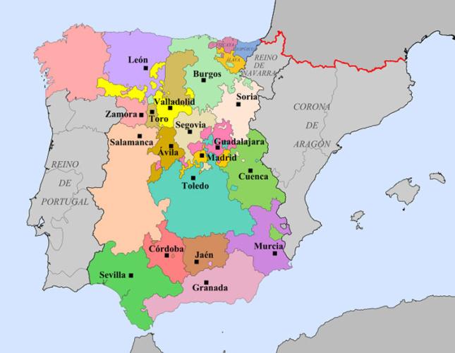 Territorios y ciudades con representación en las cortes castellanas