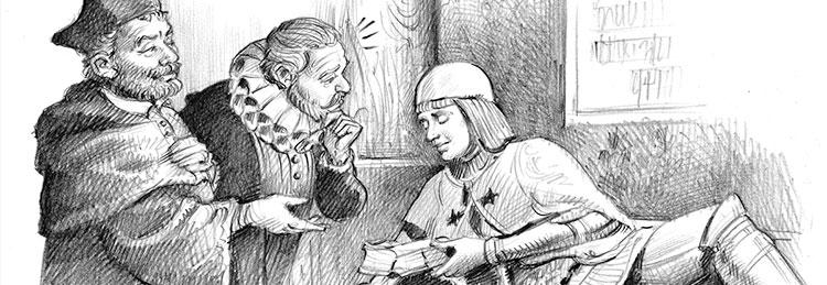 Cervantes ante El Doncel de Sigüenza. Ilustración de Isidro Monés