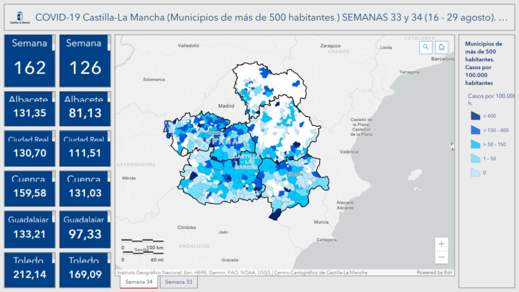 Incidencia acumulada en Castilla La Mancha en las dos últimas semanas
